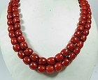 Antique 18k gold 2 strand natural red oxblood coral bead necklace