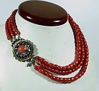 Large, antique, natural oxblood coral bead necklace 14k gold clasp