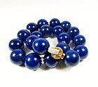 Massive. 18k gold. diamond, 20mm Lapis Lazuli bead necklace