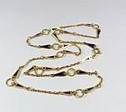 Vintage 14k gold Plique A Jour blue enamel chain necklace