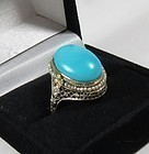 14k white gold sleeping beauty turquoise seed pearls filigree ring