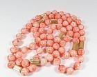 Large 14k gold natural Angel Skin coral bead necklace