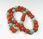 Chinese, natural tomato red coral and turquoise bead necklace