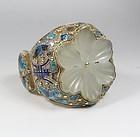 Vintage Chinese vermeil silver white jade enamel bat bracelet