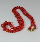 Vintage, natural dark salmon coral bead necklace 14k gold clasp
