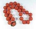 Massive natural Momo coral bead necklace silver clasp 112 grams