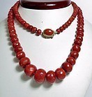 Rare natural Aka oxblood red coral bead necklace 93 grams