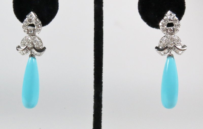 Estate, platinum, 2.6ct diamonds & Persian Turquoise dangle earrings