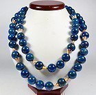 Vintage 2 strand natural Lapis Lazuli bead necklace 241 grams