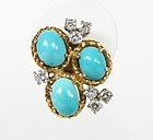 Estate 14k yellow gold, Persian turquoise and diamond earrings