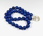 Estate 12mm Lapis Lazuli bead necklace, sterling silver clasp