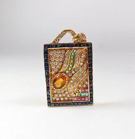 Estate 18k gold, diamond, sapphire, ruby, emerald gemstone pendant
