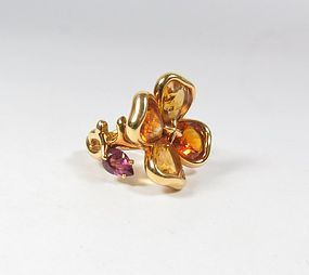 Retired Chanel Paris 18k gold citrine amethyst camellia ring