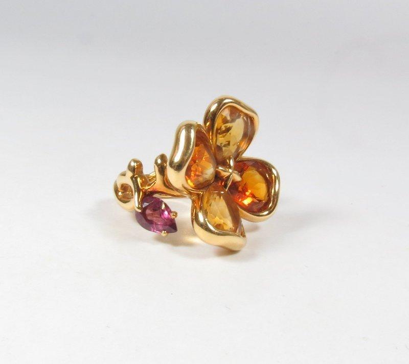 Retired Chanel Paris 18k gold citrine amethyst camellia ring