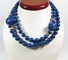 Vintage Chinese lapis lazuli bead necklace 2 carved dragon beads 14k