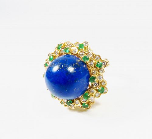 Large, estate 14k gold lapis lazuli, emerald, diamond cocktail ring