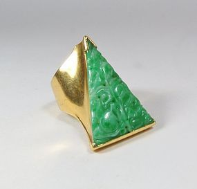 Massive, estate 18k gold carved jadeite jade ring signed Wachler