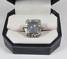 Estate 14k gold, diamond, 11.4ct blue star sapphire ring