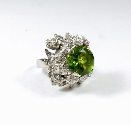 Antique, Art Deco,  platinum diamond peridot cocktail ring