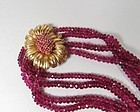 Estate 14k gold, ruby and rubellite tourmaline 4 strand necklace