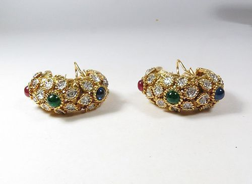 Estate, Verdura, 18k gold, diamond, ruby, sapphire, emerald earrings