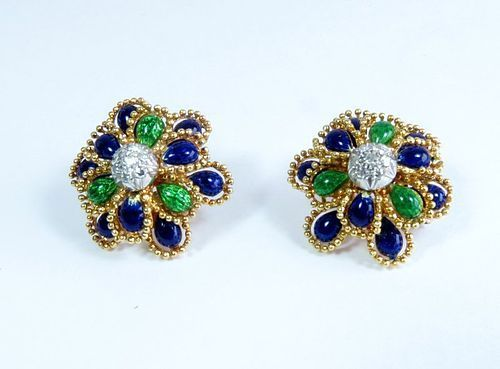 Estate, made in Italy, 18k gold,  diamond, enamel earrings