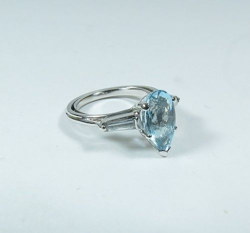 Estate platinum, blue topaz, diamond ring