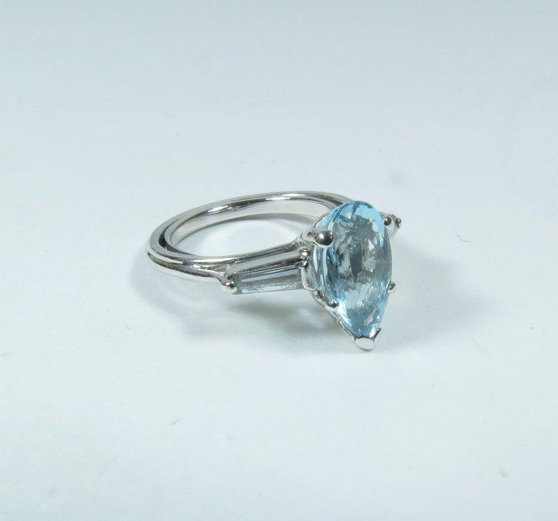 Estate platinum, blue topaz, diamond ring