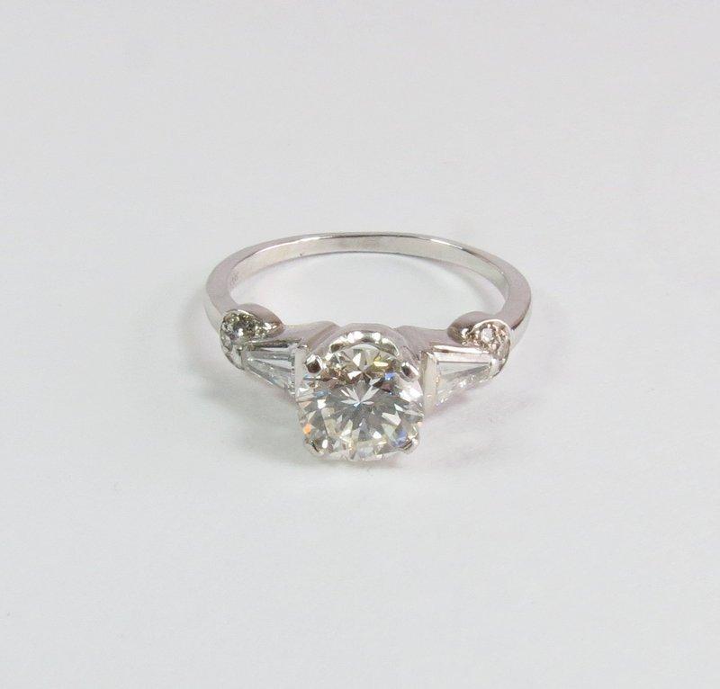 Art Deco, platinum, 1.4ctw diamond engagement ring