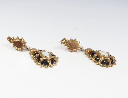 Antique pair of 14k gold, opal and black onyx dangle earrings