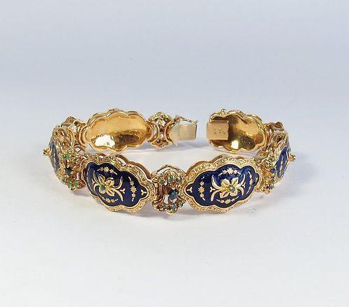 Estate, Uno A Erre, 18k gold enamel sapphire emerald bracelet
