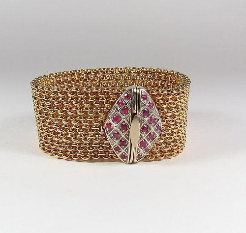 Estate 18k gold and ruby bracelet by Italian designer Braka Brev.