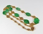 Antique Art Nouveau 18k gold carved emerald green jade necklace