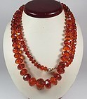 Antique, natural faceted honey amber bead necklace and earrings set