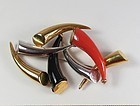 Vintage, 1960's Cartier, 18k gold coral, onyx brooch pendant