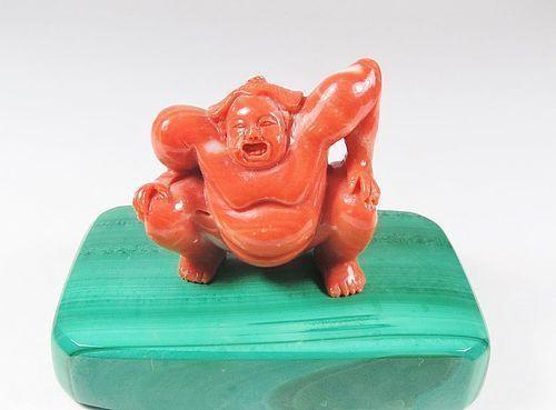 Vintage, Asian, natural Momo coral sumo man figurine malachite base