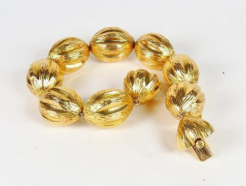 Massive, estate, solid 18k yellow gold bead bracelet