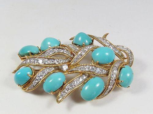Estate, 14k gold, Persian Turquoise, 2ctw diamond brooch pin, pendant