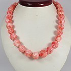 Vintage, Chinese, natural carved Angel Skin Coral dragon bead necklace