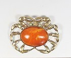 Rare, Chinese Export, vermeil silver and butterscotch amber brooch pin