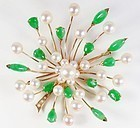 Art Deco 14k gold, natural jadeite jade and pearl brooch pin