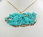 Vintage Chinese, 14k gold carved turquoise dragon necklace