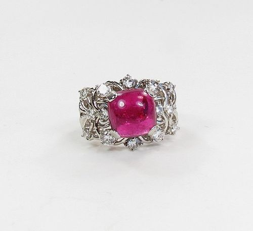 Art Deco platinum, rubellite tourmaline diamond ring