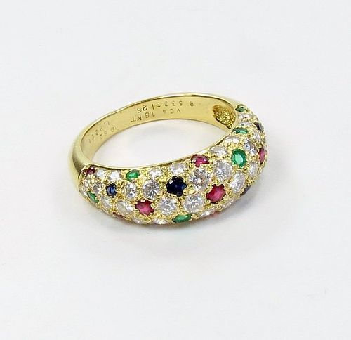 Van Cleef & Arpels 18k gold, diamond ruby, emerald sapphire ring