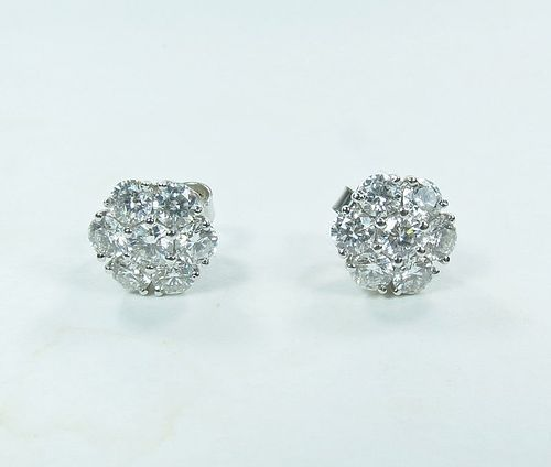 Estate, 14k white gold, 2.8ctw diamond stud flower earrings