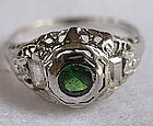 Edwardian 18K white gold ring green garnet diamonds