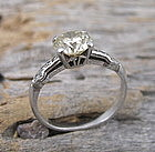 Art Deco engagement platinum yellow diamond ring