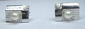 Retro sterling silver pearl Mikimoto cufflinks