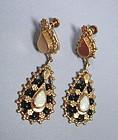 Antique Victorian 14K gold onyx opal dangle earrings