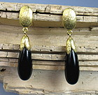 Elegant estate 14K gold black onyx dangle earrings